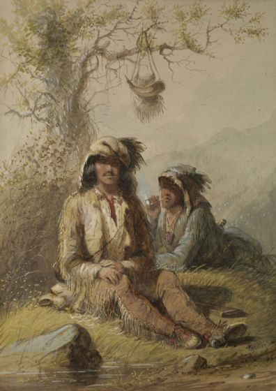 Miller, Alfred Jacob: Trappers. Fine Art Print/Poster. Sizes: A4/A3/A2/A1 (003840)